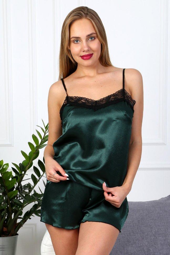 Пижама атласная Велли (зеленая)