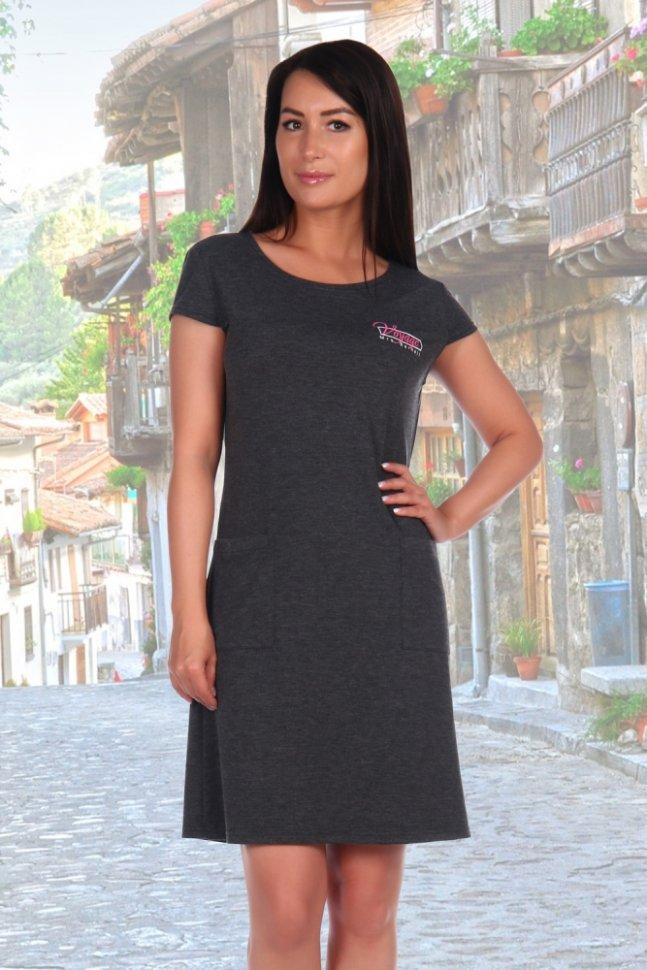 Платье вискозное Жизель (серое) фото