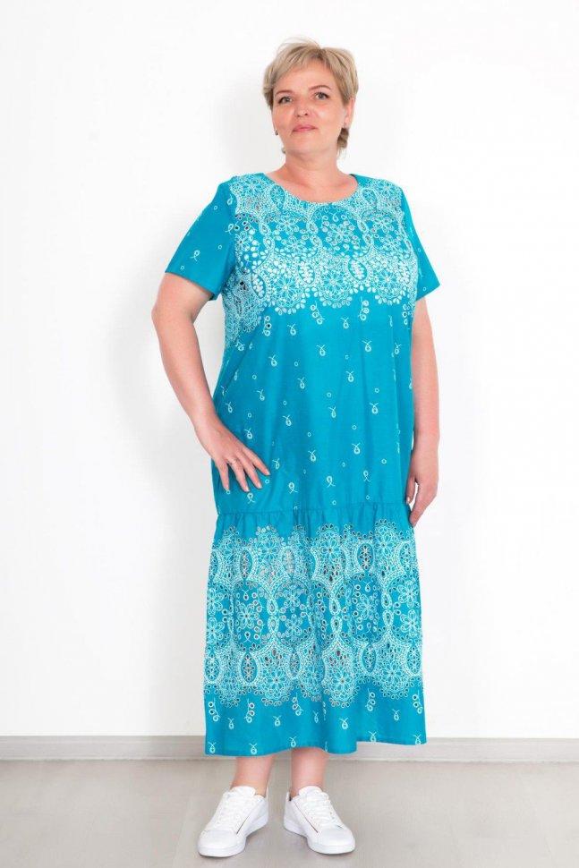 Платье трикотажное Летиция (бирюзовое) фото