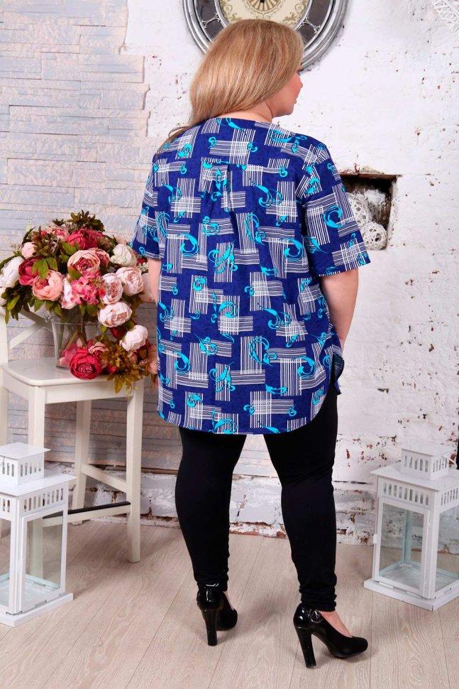 Рубашка трикотажная Оксана (синяя)
