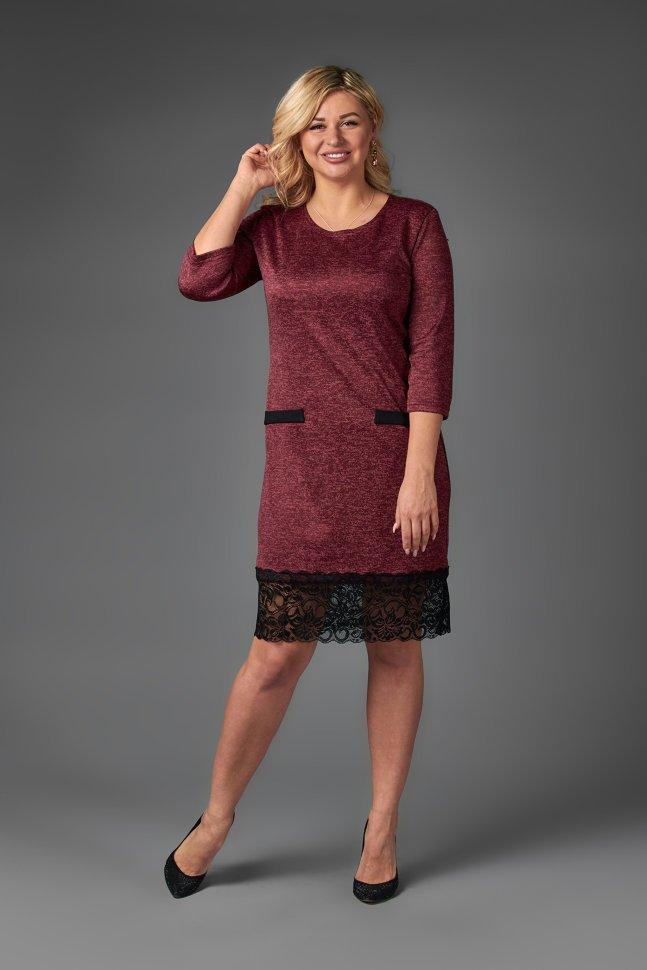 Платье трикотажное Джисела (бордовое) фото