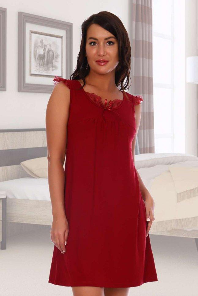 Ночная сорочка Пета (бордовая) фото
