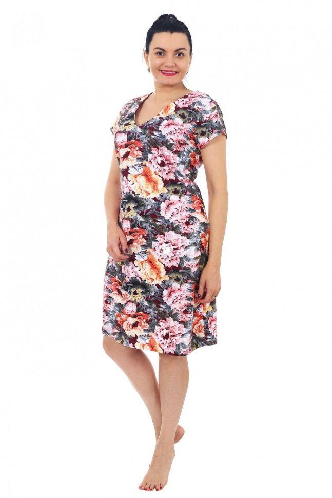 Платье трикотажное Аурелия (цветы) фото