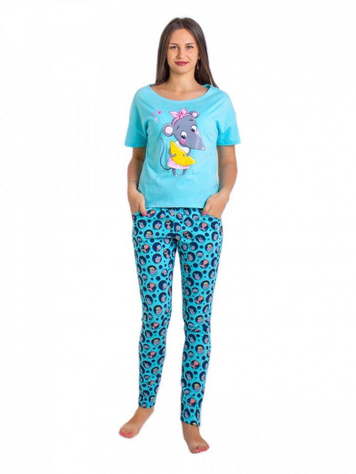 Пижама трикотажная Бобби (бирюзовая) фото