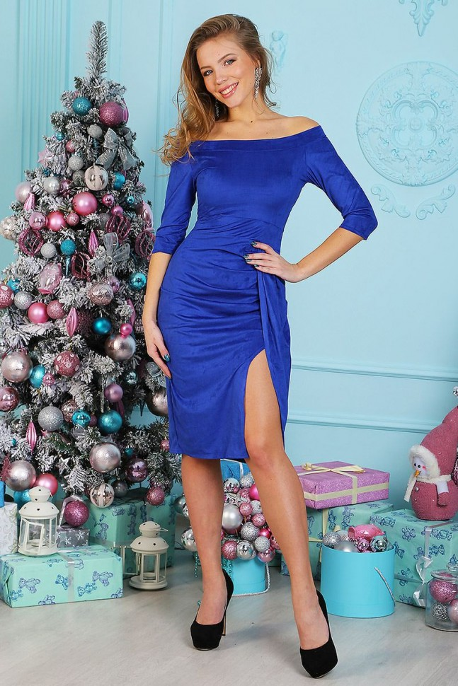 Платье замшевое Луиза (васильковое) фото