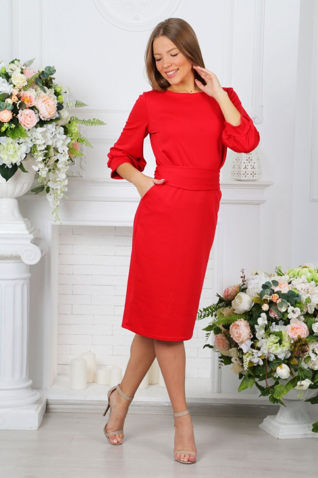 Платье трикотажное Кларити (красное)