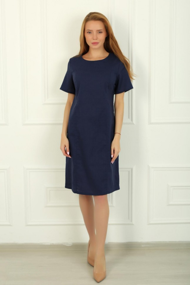 Платье льняное Янтарь (синее) фото