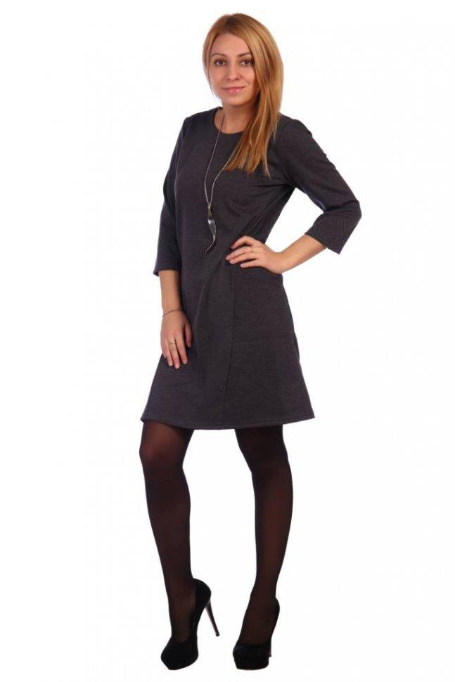 Платье трикотажное Авалона (серое) фото