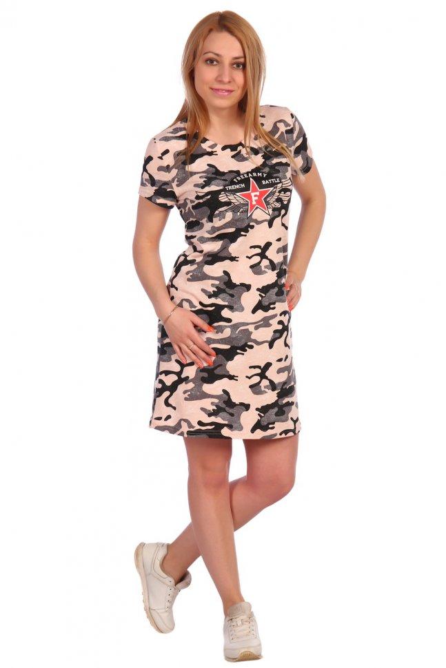Платье трикотажное Лиада (бежевое)