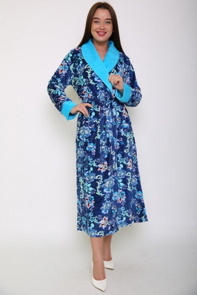 Халат велюровый Аннема (синий) фото