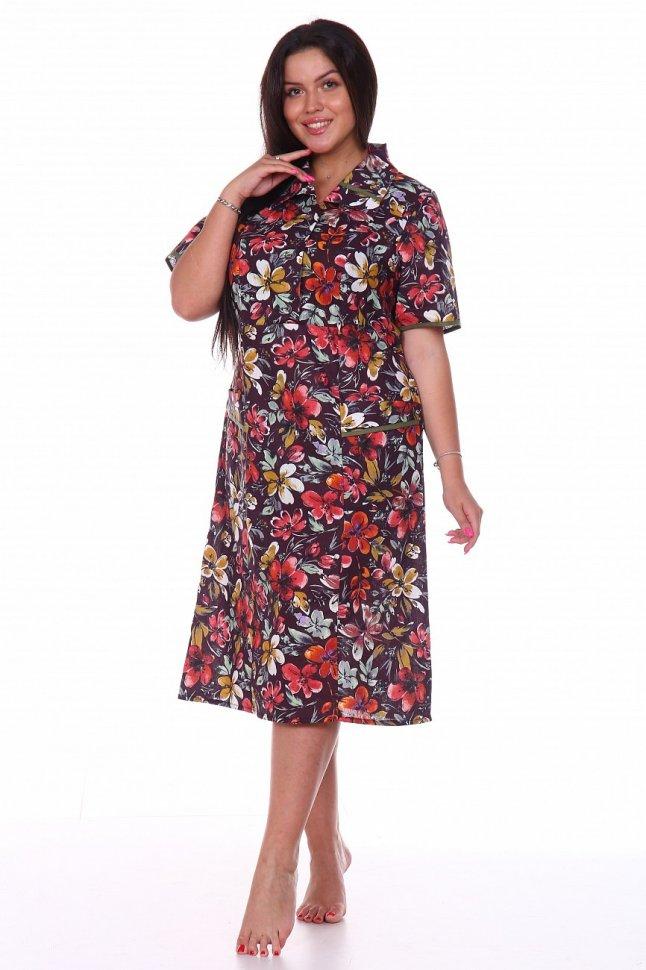 Платье бязевое Майя (коричневое) фото
