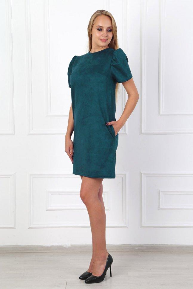 Платье замшевое Мирелла (зеленое) фото
