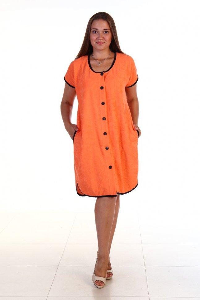 Халат махровый Полюша (оранжевый) фото