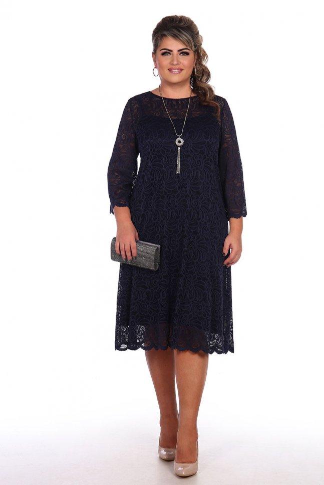 Платье трикотажное Мейрин (синее) фото
