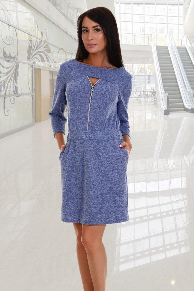 Платье трикотажное Амина (голубое) фото