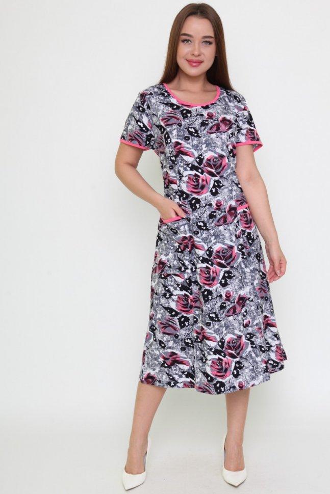 Платье трикотажное Лена (серое)