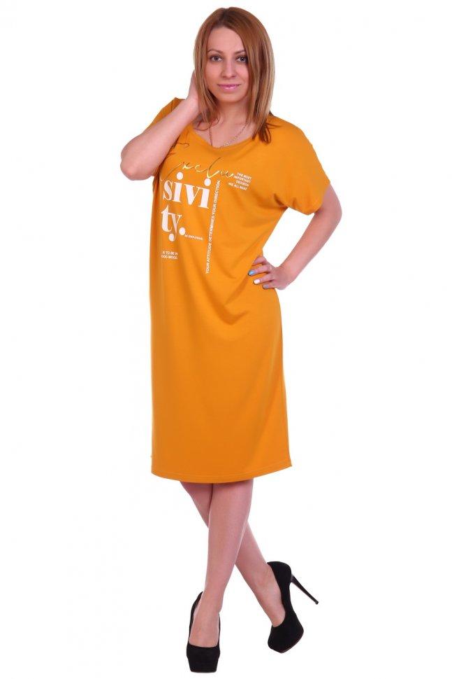 Платье вискозное Леонтия (горчичное) фото
