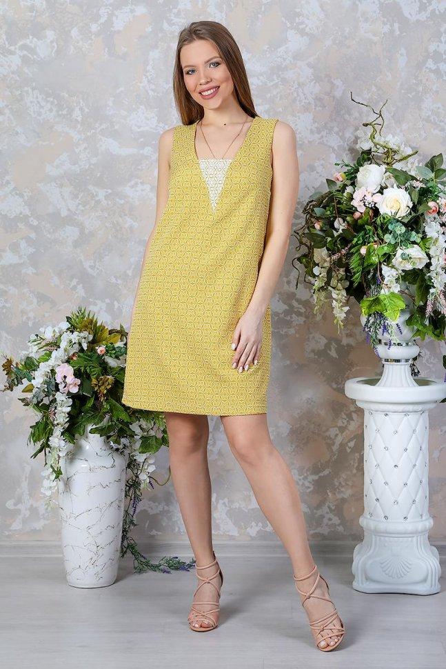 Платье трикотажное Аланис (желтое) фото