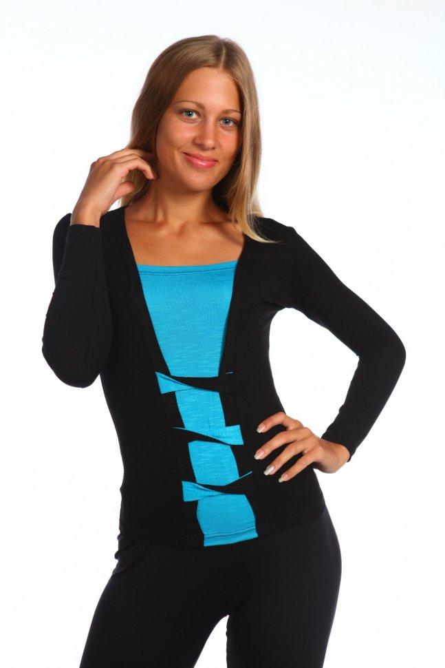 Блуза вискозная Бантики (голубая)