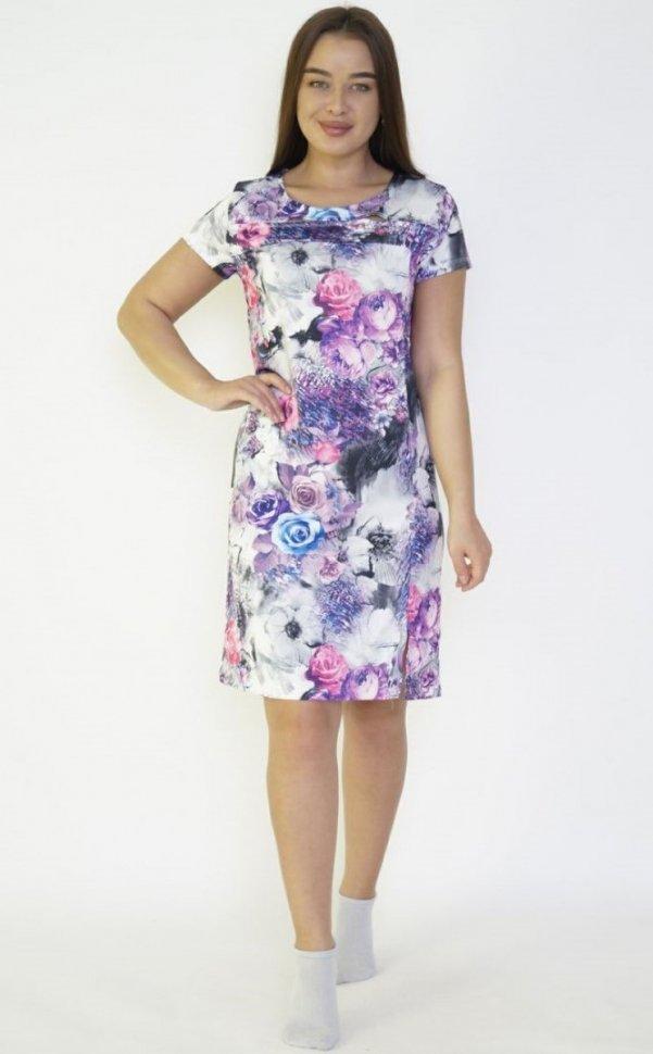 Платье вискозное Модеста (сиреневые цветы) фото
