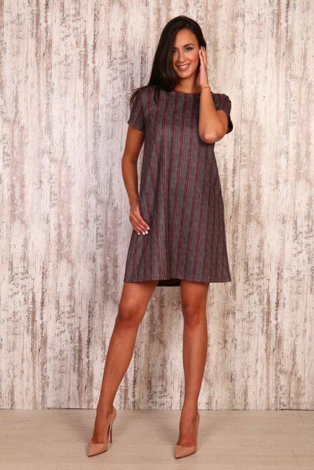 Платье замшевое Лили (серо-розовое) фото