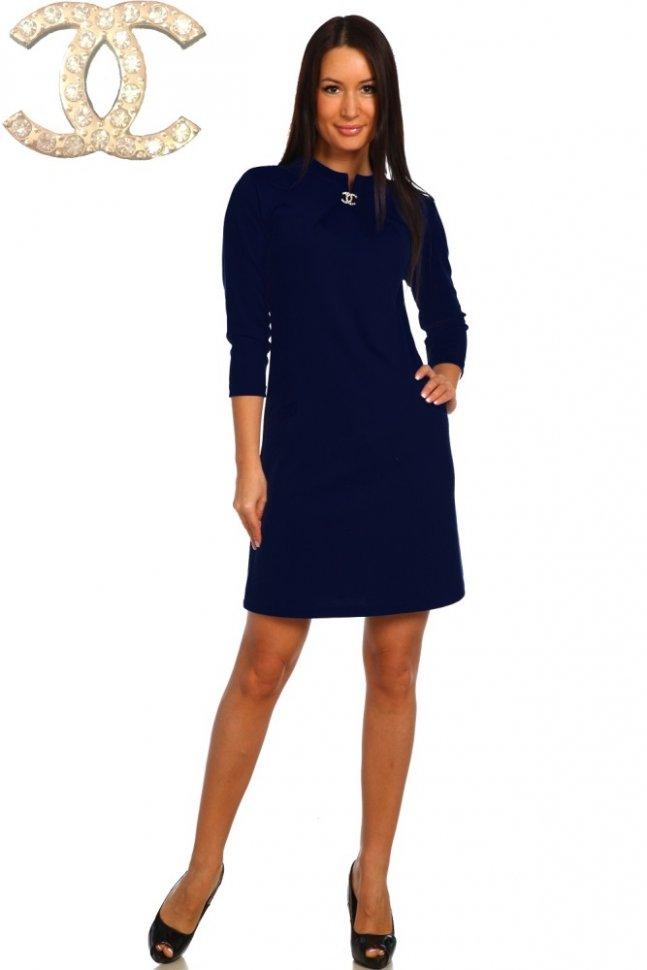 Платье трикотажное Виа (темно-синее) фото