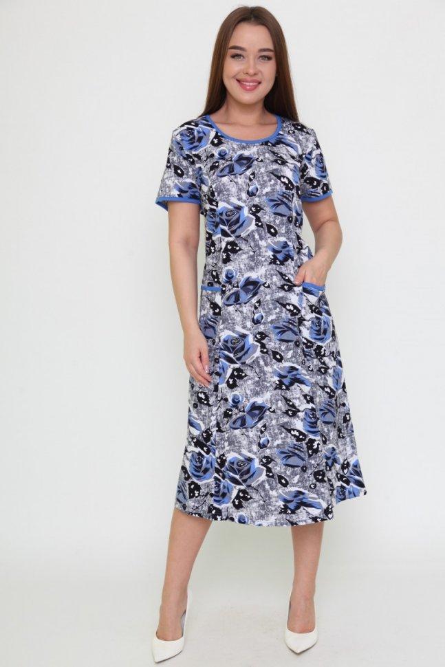 Платье трикотажное Лена (синее)