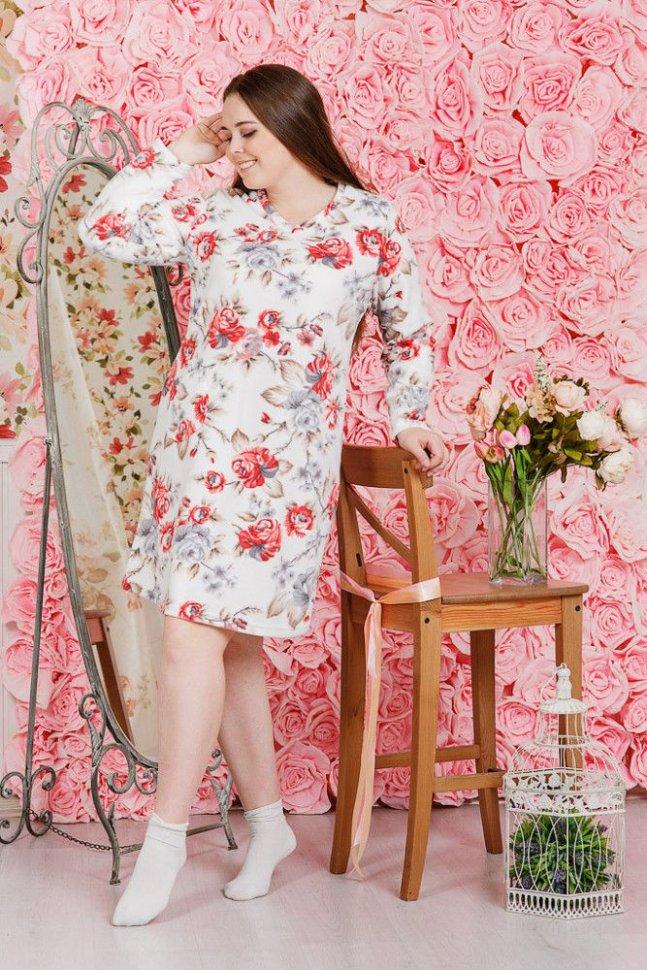 Платье флисовое Маиса (цветы) фото