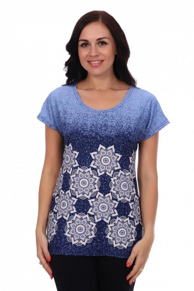 Блуза трикотажная Жанна (синяя) фото
