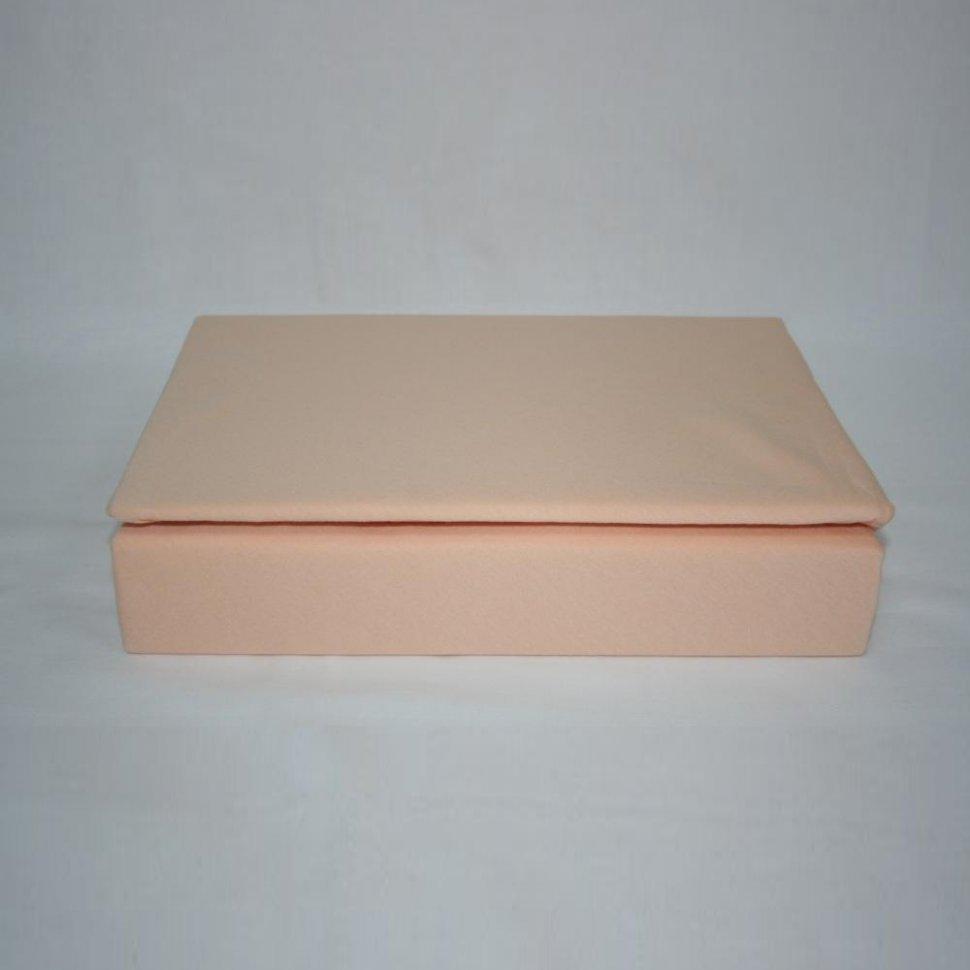 Простынь на резинке трикотажная 140x200 (персиковая) фото
