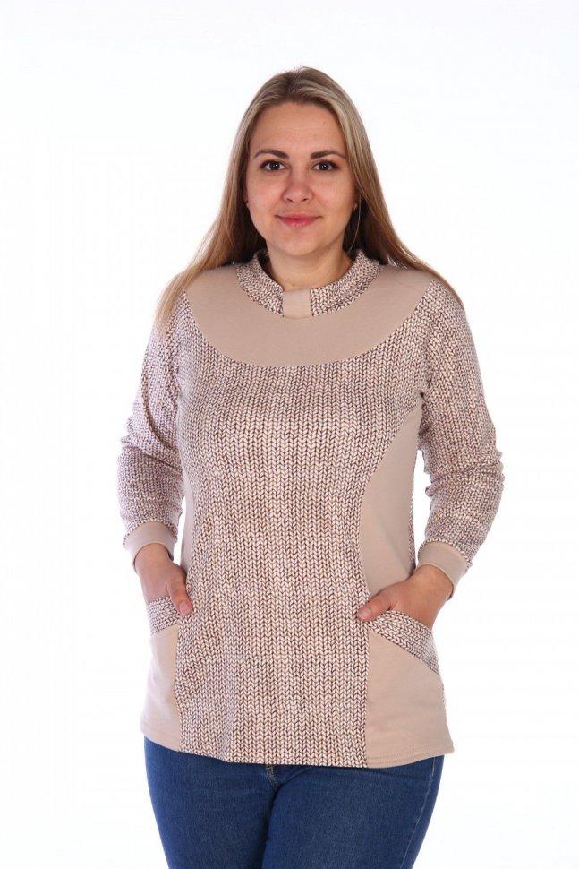 Блуза трикотажная Даниэль (бежевая) фото