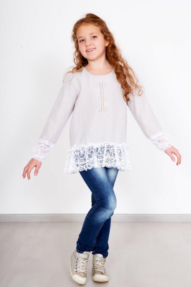 Блуза детская Ярослава (серая) фото