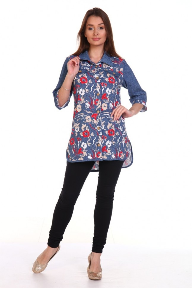 Рубашка трикотажная Адин (цветы) фото