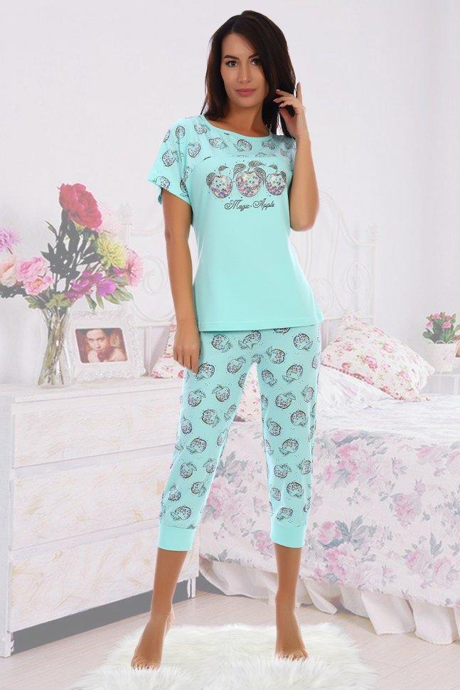 Пижама трикотажная Иветта (ментоловая) фото