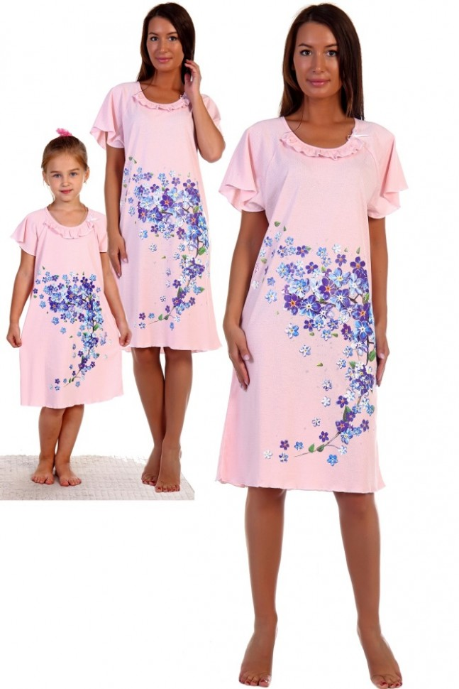 Ночная сорочка Водопад (розовая) фото