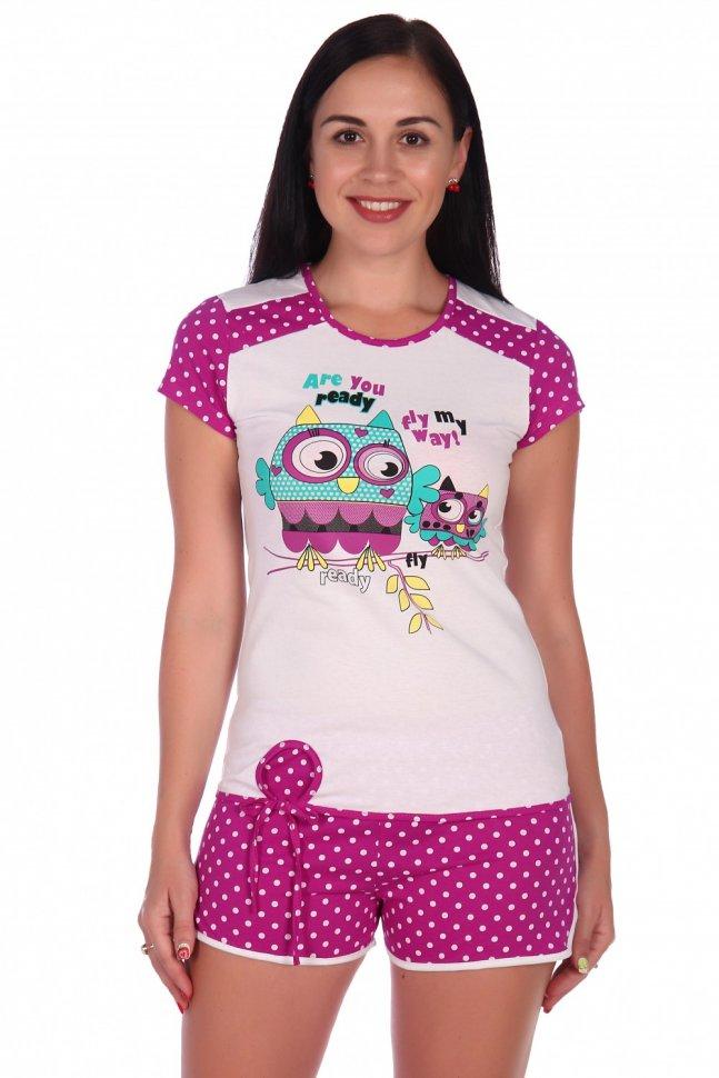 Пижама трикотажная Сова (лиловая) фото