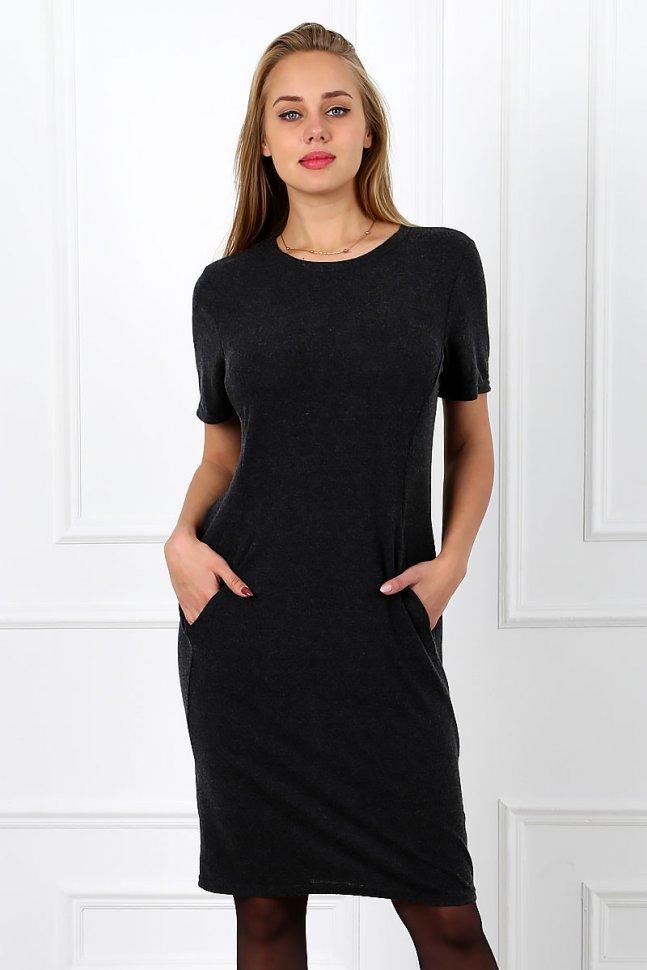 Платье из ангоры Аннека (темно-серое) фото
