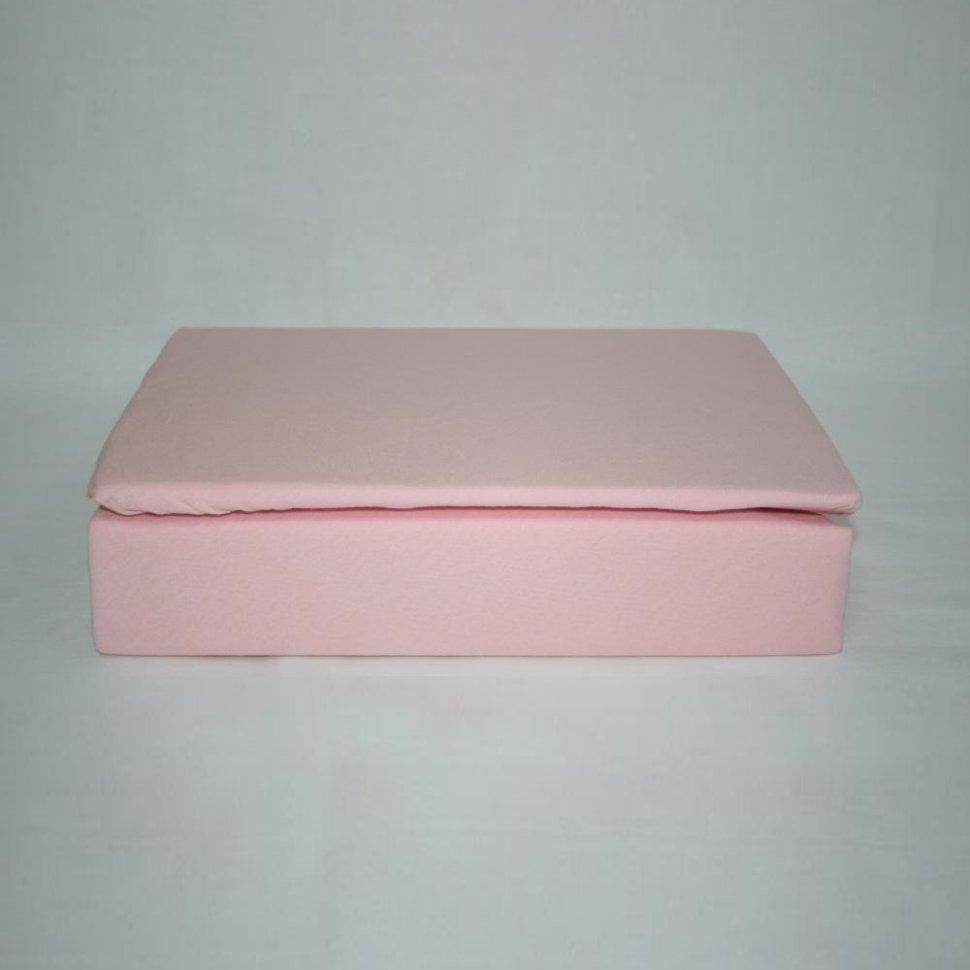 Простынь на резинке трикотажная 160x200 (розовая) фото