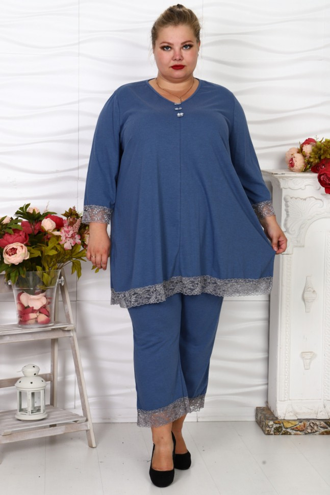 Пижама трикотажная Антонина (синяя)