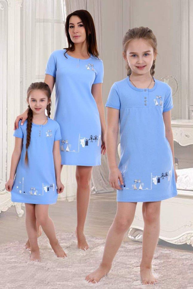 Ночная сорочка детская Тони (голубая) фото