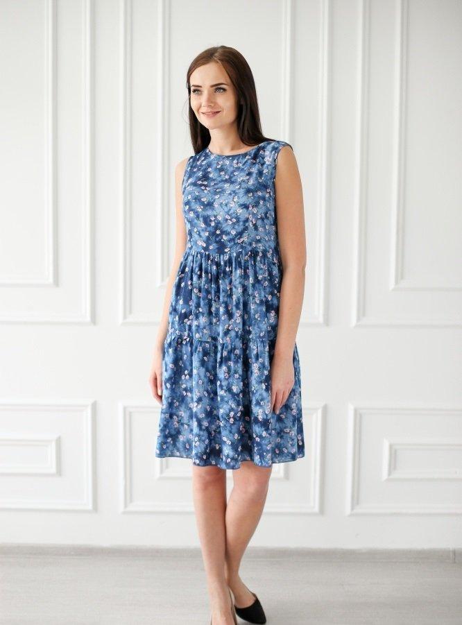 Платье штапельное Элиза (синее) фото