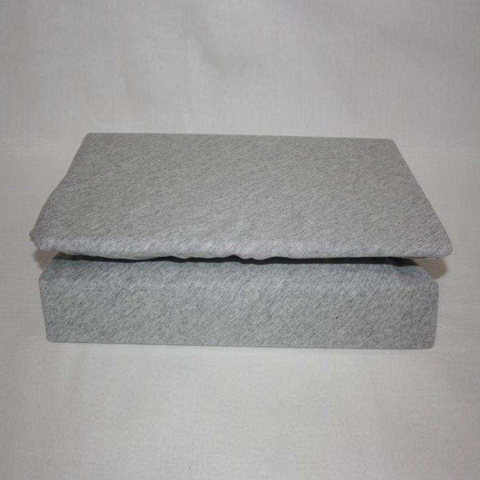 Простынь на резинке трикотажная 180x200 (серая) фото