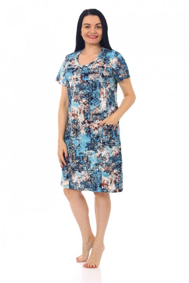 Платье трикотажное Инесса (бирюзовое) фото