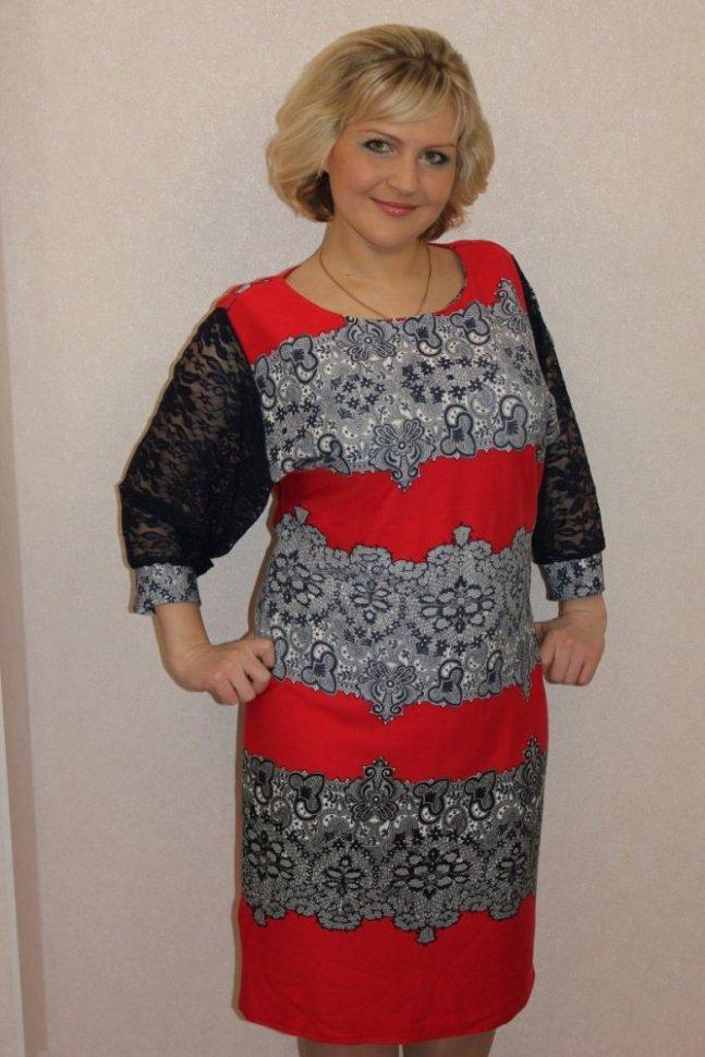 Платье трикотажное Лакиша (красное) фото