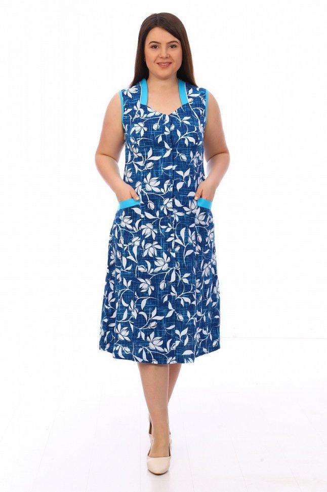 Халат трикотажный Авелина (синий) фото