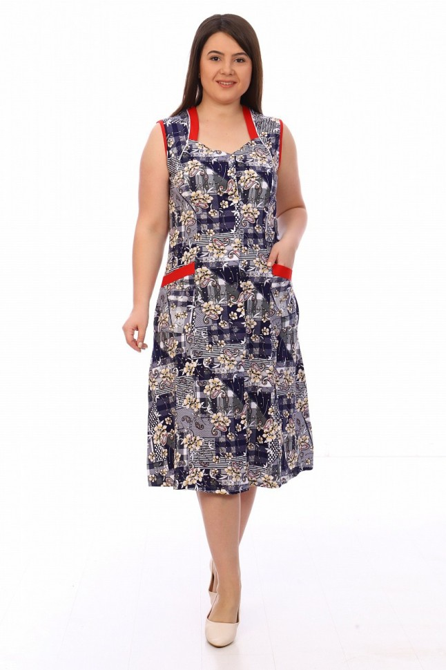 Халат трикотажный Авелина (сине-серый) фото