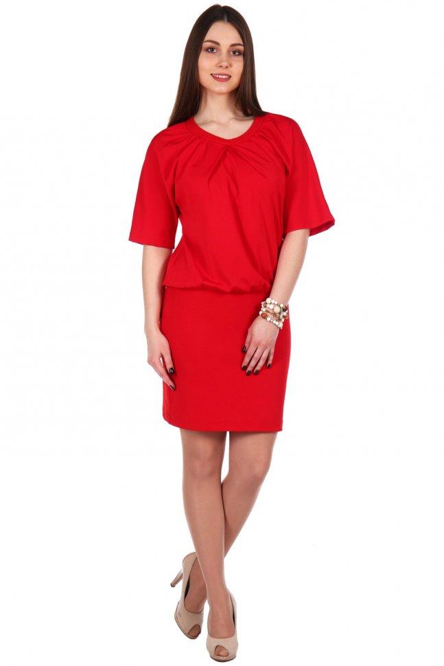 Платье трикотажное Эдит (красное)