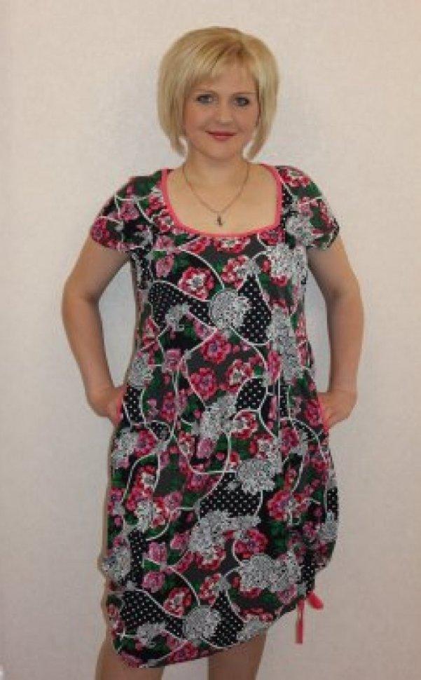Платье трикотажное Ирис (цветы) фото