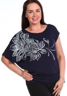 Женская трикотажная блузка Викки (темно-синяя)