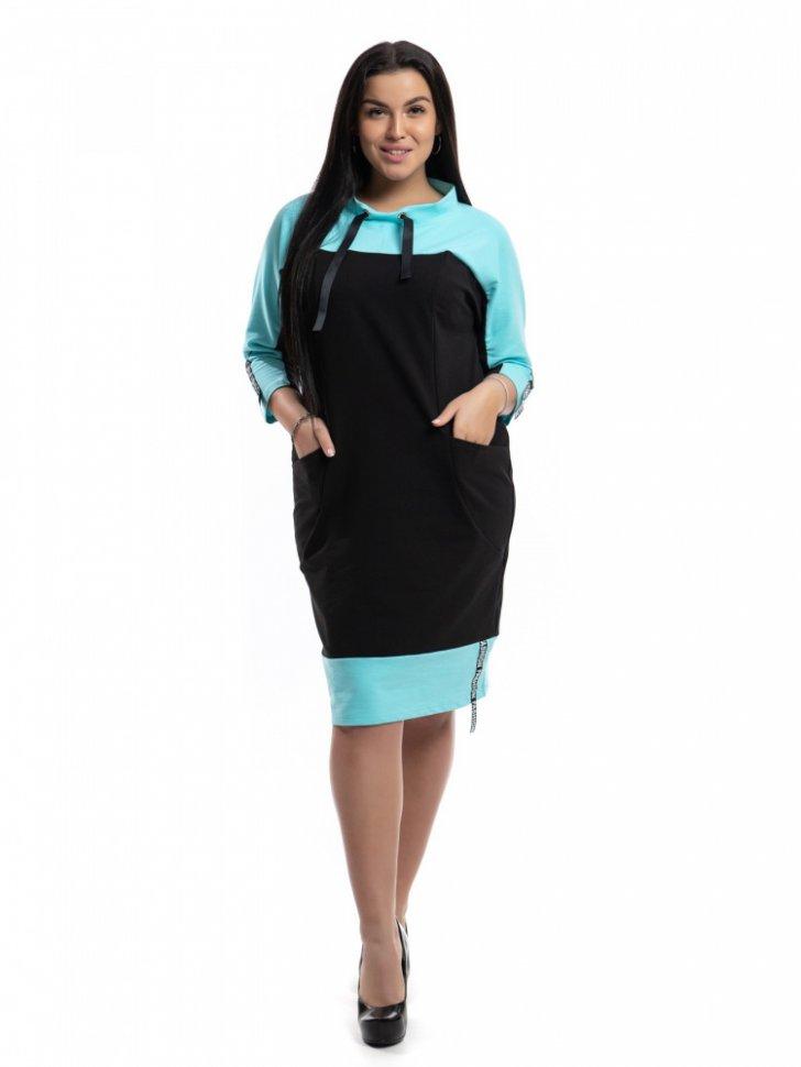 Платье трикотажное Виолет (бирюзовое)